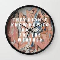 vampire weekend Wall Clocks featuring Les Demoiselles du Weekend by Modern Vampires of Art History