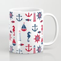 navy Mugs featuring Navy by Valmo. Surface pattern design by Valeria