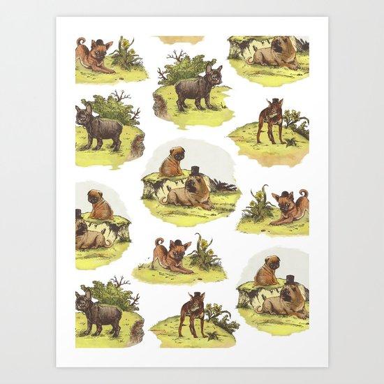 Vintage Dogs Art Print