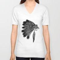 headdress V-neck T-shirts featuring Native Headdress by Caleb Swenson