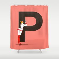 helvetica Shower Curtains featuring Patricia & Helvetica by ChicksAndType