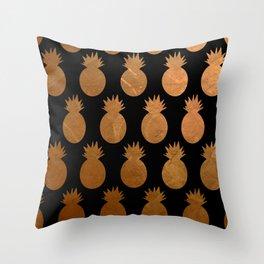 Metallic Pineapples Throw Pillow