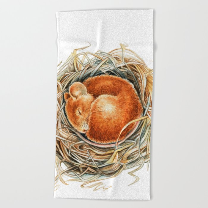Mouse in the nest Beach Towel
