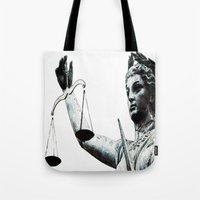 justice league Tote Bags featuring Justice ? by arnedayan