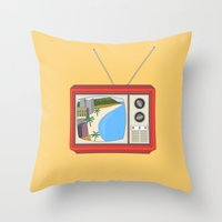 hawaiian Throw Pillows featuring Hawaiian TV by uzualsunday