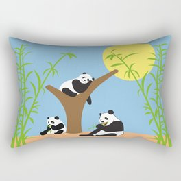 Panda bears with bamboo Rectangular Pillow