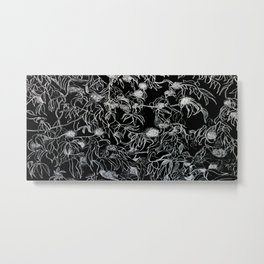 Graphic art, trees leaves, white ink Metal Print
