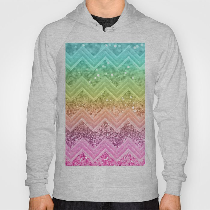 96bd44e9d3d8 Rainbow Glitter Chevron #1 #shiny #decor #art #society6 Hoody by  anitabellajantz | Society6