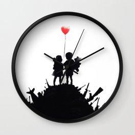 Banksy, Kids with heart balloon Wall Clock