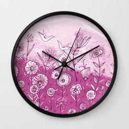 Bird and Flower Pink Friendship and Love Art Wall Clock
