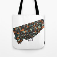 toronto Tote Bags featuring Toronto by BigRedSharks