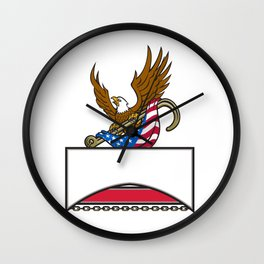 American Eagle Clutching Towing J Hook Flag Retro Wall Clock