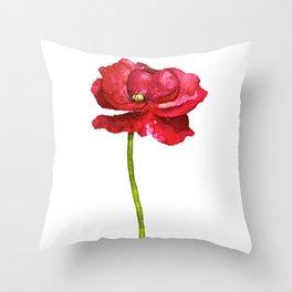 Ink Poppy Painting (Original Artwork) Throw Pillow