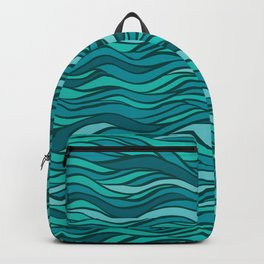 Excellence fantasy hand-drawn vector illustration with waves, hairs, seaweed Backpack