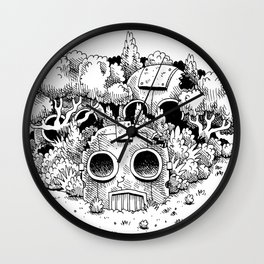 Abandoned Robot Junkyard in the Forest Wall Clock