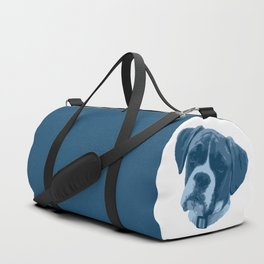 I love my dog - Boxer, blue Duffle Bag