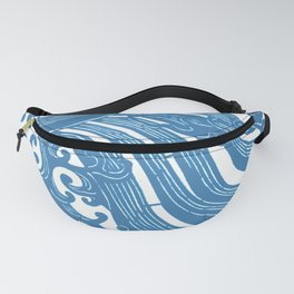 Stencil with Pattern of Waves,19th century Japan (Edited Blue) Fanny Pack