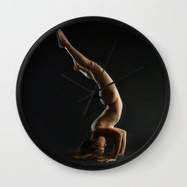 5137s-NLJ Beautiful Woman Nude Headstand Warm Dark Skin Centered Yoga Wall Clock