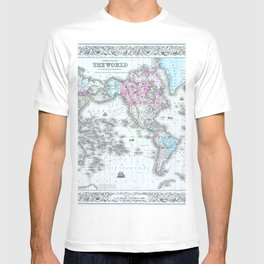 Vintage World Map 1855 T-shirt