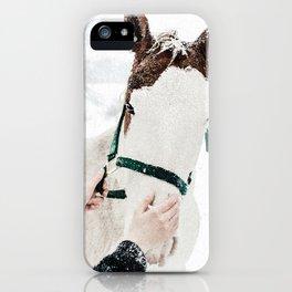 Horsey Girl in Snow iPhone Case