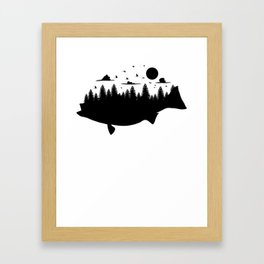 Bass Forest T Shirt Largemouth Fish Graphic Nature Fusion Framed Art Print