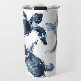 Turtle Swimming Sea Turtles indigo blue turtle art Travel Mug