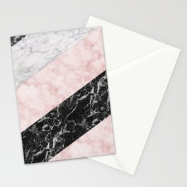 Pink marble allsorts stripes Stationery Cards