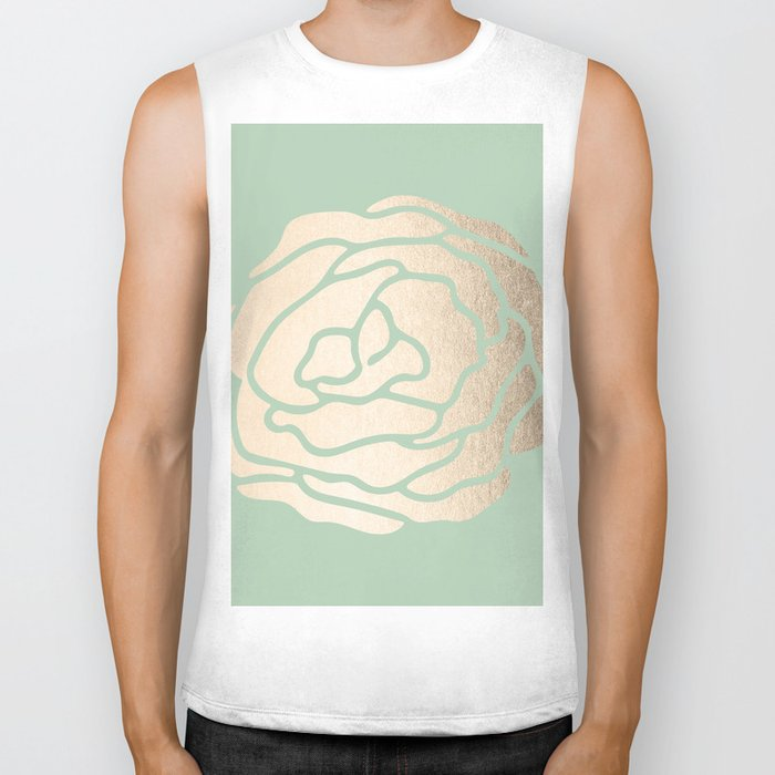 Rose White Gold Sands on Pastel Green Cactus Biker Tank
