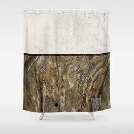 Cream Cement and Gnarled Wood Patterns Shower Curtain