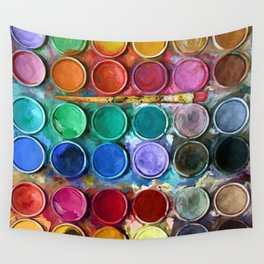 watercolor palette Digital painting Wall Tapestry