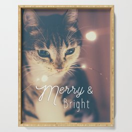Merry and bright, cute cat and fairy lights Serving Tray