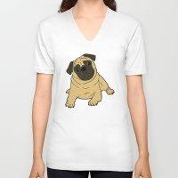 pug V-neck T-shirts featuring PUG by Elena O'Neill