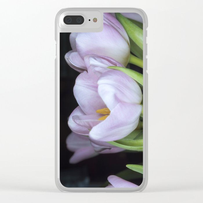 Pink Tulips Clear iPhone Case
