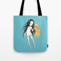 goldfish Tote Bags featuring Goldfish by Freeminds