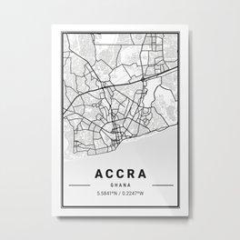 Accra Light City Map Metal Print