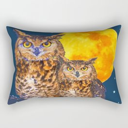 TWO OWLS IN FULL MOONSCAPE NIGHT Rectangular Pillow