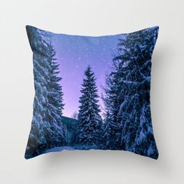 Chilly Conifers Throw Pillow