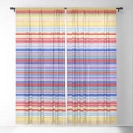 Rainbow Stripes Design Sheer Curtain