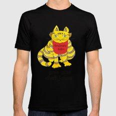 Big Fat Yellow Cat MEDIUM Black Mens Fitted Tee