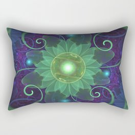 Glowing Blue-Green Fractal Lotus Lily Pad Pond Rectangular Pillow