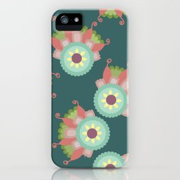 Turquoise floral pattern iPhone Case