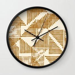 Stripe Triangle Block Print Geometric Pattern in Orange Wall Clock