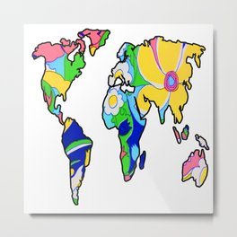 Pink Floral  World Map Metal Print