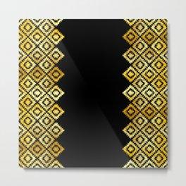 Turkish carpet gold black. Patchwork mosaic oriental kilim rug with traditional folk ornament Metal Print