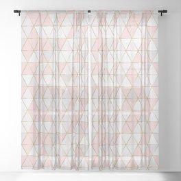 Geometric triangles scandinavian pattern Sheer Curtain