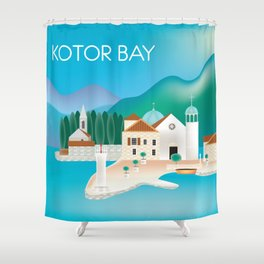 Kotor Bay, Montenegro - Skyline Illustration by Loose Petals Shower Curtain