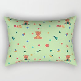 Green Pattern with toys. Teddy bear and toys. Rectangular Pillow