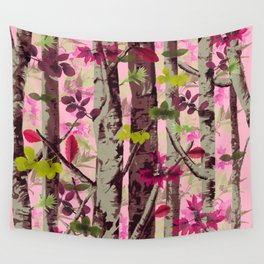 Pink Camo Trees Wall Tapestry