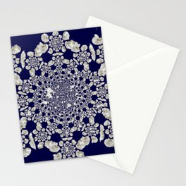 White orchid navy background Stationery Cards