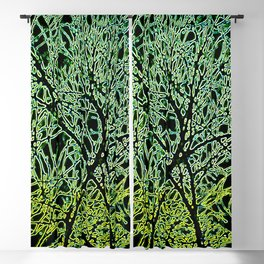 Tangled Tree Branches in Leaf and Lime Green Blackout Curtain